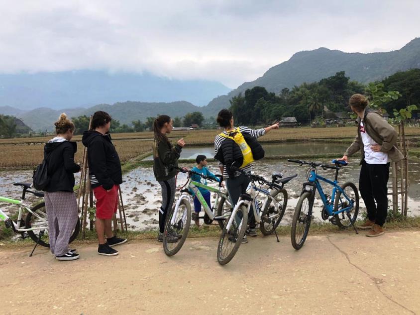 Bicicletas y arrozales en Vietnam