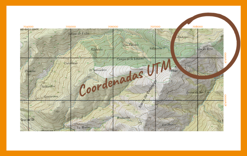 Coordenadas UTM en un mapa para orientacion